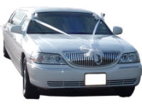 Cars for Stars (North London) - Wedding Limo. White Lincoln stretched wedding limousine with white ribbons